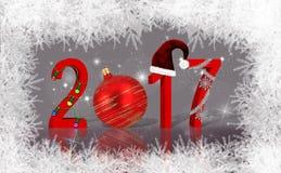 Украшенный Новый Год 2017 рождества Стоковое фото RF