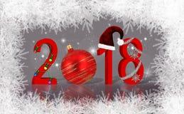 Украшенный Новый Год 2018 рождества Стоковые Изображения RF