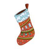 Украшенный носок рождества Изолировано на белизне Стоковые Фотографии RF