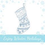 Украшенный носок рождества Линия искусство вектора Стоковые Фотографии RF