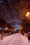 Украшенный парк города зимы Стоковая Фотография RF