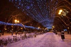 Украшенный парк города зимы Стоковая Фотография