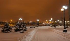 Украшенный парк города зимы Стоковое Фото