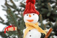 Украшенный снеговик с подарком для рождества, предпосылки хвойного дерева покрыл снег Стоковые Фотографии RF