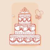 Украшенный торт с парами лебедей вектор изображения иллюстрации элемента конструкции Стоковые Фотографии RF