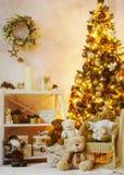Украшенный угол интерьера рождества Стоковое Фото