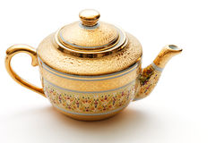 украшенный чайник золота богато украшенный стоковые изображения