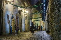 Украшенный для улицы рождества Стоковые Изображения