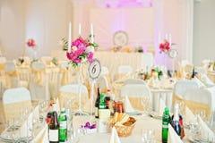 Украшенный wedding ресторан Стоковая Фотография
