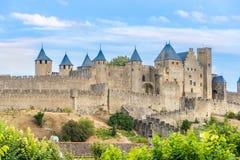 Укрепленный город Каркассон в Франции Стоковое фото RF