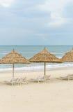 Укрытие и sunbeds ладони на Китае приставают к берегу в Da Nang Стоковые Изображения RF