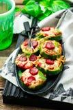 Укусы пиццы цукини стоковые фотографии rf
