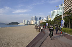 Уклад жизни Пусана Кореи пляжа Haeundae Стоковые Фото
