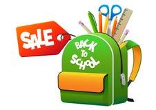 Укладывайте рюкзак назад к школе с продажей ярлыка Стоковые Изображения