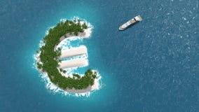 Уклонение налогового рая, финансовых или богатства на острове евро Роскошная шлюпка плавает к острову бесплатная иллюстрация