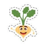 лук шаржа выходит счастливая vegetable линия отрезка иллюстрация вектора