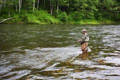 улавливает семг рыболова Стоковые Фото
