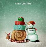 Улитка, снеговик и подарки рождества бесплатная иллюстрация