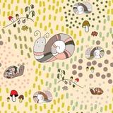 Улитки, грибы, цветки, картина вектора травы безшовная иллюстрация вектора