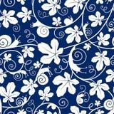 Улитки на лозе Безшовная бело-голубая картина вектора Стоковое Изображение