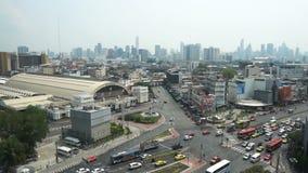 Улица Бангкока в взгляде центральной станции сверху при затор движения, принятый в 26-ое марта 2018 акции видеоматериалы
