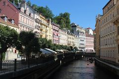 Улица в курорте Karlovy меняет Стоковая Фотография RF