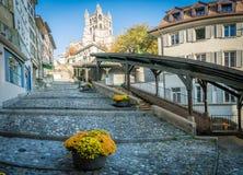 Улица в Лозанне стоковые фото