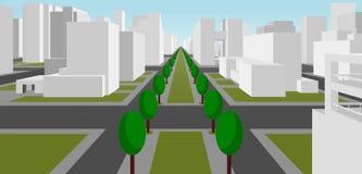 Улица в самомоднейшем городе иллюстрация штока