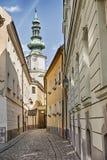 Улица в старом городке Братиславы Стоковые Изображения RF