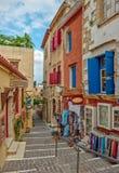 Улица в старом городке Chania, острове Крита, Греции Стоковые Фотографии RF