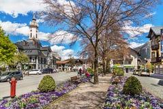 Улица в Garmisch-Partenkirchen в Германии Стоковое фото RF