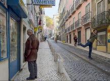Улица города Лиссабона стоковое изображение rf