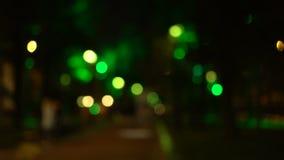 Улица города ночи Bokeh Из фокуса видеоматериал