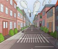 Улица города с зданиями, светофором, crosswalk и знаком уличного движения иллюстрация вектора