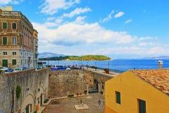 Улица Греция городка Корфу прибрежная Стоковые Изображения