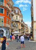 Улица Греция городка Корфу старая Стоковая Фотография RF
