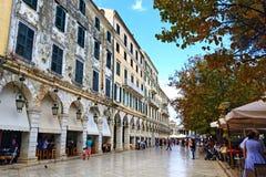 Улица Греция городка Корфу Стоковое Изображение RF