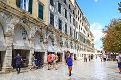 Улица Греция городка Корфу Стоковые Изображения RF