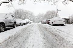улица дня brooklyn снежная Стоковая Фотография RF