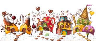 Улица земли конфеты зимы с ягодами и конфетами стоковые фотографии rf
