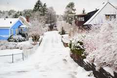 Улица зимы Стоковые Изображения