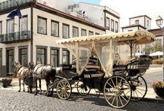 улица камня лошади экипажа нарисованная cobble Стоковое фото RF