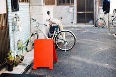 Улица кафа Nakazaki-cho винтажная в Осака, Японии стоковое изображение rf