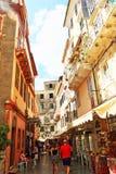 Улица Корфу Греция старого городка коммерчески Стоковое Фото