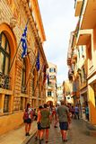 Улица Корфу Греция старого городка коммерчески Стоковое Изображение