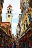 Улица Корфу Греция старого городка коммерчески Стоковые Фото