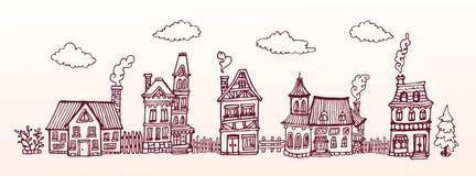 Улица нарисованная рукой с уютными европейскими домами вектор знамени eps10 наслоенный архивом Горизонтальная иллюстрация Стоковые Изображения