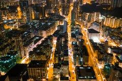 Улица ночи в Kowloon, Гонконге стоковое фото rf