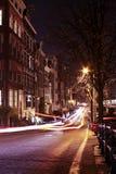 улица ночи жизни amsterdam нидерландская Стоковые Фото