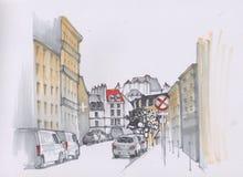 Улица Парижа эскиз Стоковые Фотографии RF